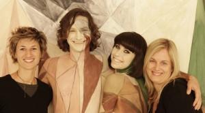 (from left) Natasha, Wally, Kimbra and Emma on the set of STIUTK c/o Stark Raving Prod.