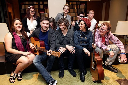 Wally and the emerging musicians at the Aardvark Sessions. C. The Age