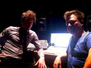 James and Lachlan; dual Gotye-collab music magicians crafting Colour Bomb's tunes yesterday